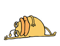 Se coucher de repos de monstre orange de bande dessinée Illustration de vecteur illustration libre de droits