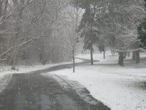 Se dépêcher dans une tempête de neige sur la ceinture verte Boise Idaho Photographie stock