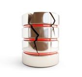Se daña la base de datos, 3d roto en un fondo blanco Imagen de archivo libre de regalías