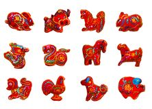Se 12 de couleur rouge douze zodiaques Images libres de droits