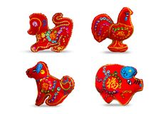 Se 4 de couleur rouge douze zodiaques Photographie stock