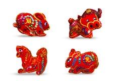 Se 4 de couleur rouge douze zodiaques Photographie stock libre de droits
