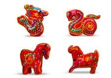 Se 4 de couleur rouge douze zodiaques Image stock