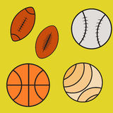 SE de los iconos de la bola del deporte Imagenes de archivo