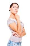 se den fundersama övre kvinnan Fotografering för Bildbyråer