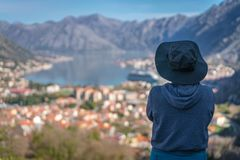 Se den Kotor fjärden från över royaltyfria foton
