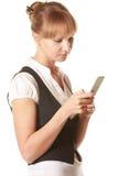 se den mobila skärmkvinnan Royaltyfri Fotografi