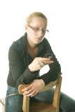 se den mobila telefonen till kvinnabarn Fotografering för Bildbyråer