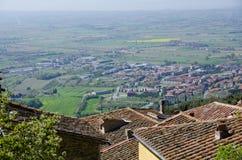 Se den Val D `en Chiana från det Cortona taket Arkivbild