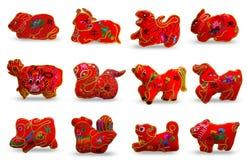 Se 12 di colore rosso dodici zodiaci Immagine Stock
