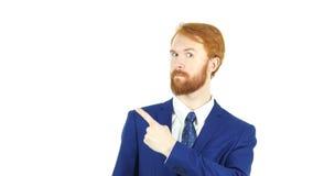Se dirigeant du côté, homme d'affaires rouge de barbe de cheveux, fond blanc Photographie stock