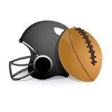 Se divierte el casco con la bola de rugbi stock de ilustración