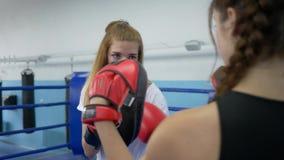 Se divierte la afición, mujer joven sostiene las patas del boxeo para la muchacha que bate en el anillo en gimnasio almacen de metraje de vídeo
