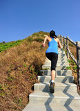 Se divierte a la mujer que corre en las escaleras de la montaña Imagen de archivo