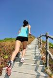Se divierte a la mujer que corre en las escaleras de la montaña Fotografía de archivo libre de regalías