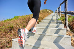 Se divierte a la mujer que corre en las escaleras de la montaña Imagen de archivo libre de regalías