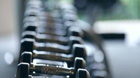 Se divierte las pesas de gimnasia de goma en club de deportes moderno Equipo de entrenamiento del peso almacen de video