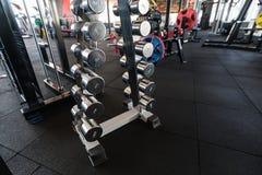 Se divierte pesas de gimnasia Pesas de gimnasia en el gimnasio imagen de archivo libre de regalías