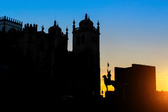 Se do Porto Cathedral silhouette at dusk Stock Photos