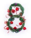 Se escribe la Feliz Año Nuevo número 8 Fotografía de archivo libre de regalías
