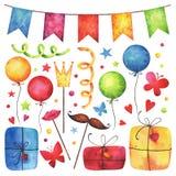 Se för konst för gem för parti för lycklig födelsedag för vattenfärg royaltyfri illustrationer