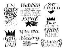 Se fija de 7 que la mano que ponía letras a citas del bebé le amó tan, nuestra bendición Dios es mi papá ilustración del vector