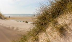 Se från dyn till stranden på Nordsjön i Nederländerna fotografering för bildbyråer