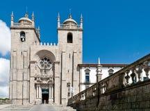 Se gör den Porto domkyrkan i Porto, Portugal Arkivbild