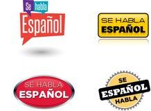 Se Habla Español - & x22;Spanish Is Spoken Here& x22;. & x22;Se Habla Español& x22; & x22;Spanish Is Spoken Here& x22; Vector Icon stock illustration