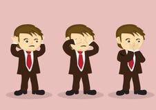Se ingen ondska höra ingen ondska tala ingen ond vektortecknad filmpojke Charac vektor illustrationer