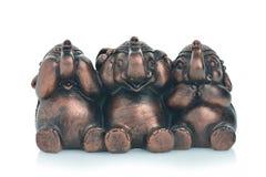 Se ingen ondska, tala ingen ondska, hör inga onda elefanter Royaltyfria Foton