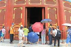 Se inom av all bönen för den bra skörden, tempel av himmel, Peking royaltyfria bilder