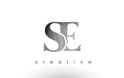 SE Logo Design With Multiple Lines and Black and White Colors. Stock Photos
