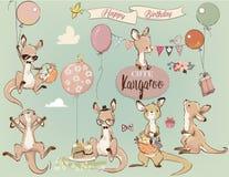 Se met Weinig kangoeroe en ballons stock illustratie
