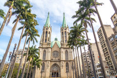 Se Metropolitan Cathedral in Sao Paulo, Brazil.  Royalty Free Stock Photo
