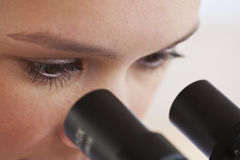 se mikroskopkvinnan Royaltyfri Foto