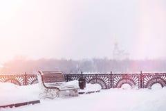 Se mina andra arbeten i portfölj Vinterpark som räknas med snow BänkFN Fotografering för Bildbyråer
