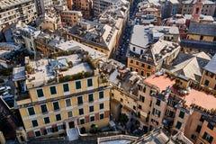 Se ner på byggnader i Genua royaltyfria foton