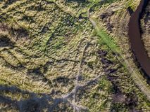 Se ner på kust- sanddyn Flyg- bild Royaltyfria Foton