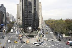Se North upp Broadway från Columbus Circle Arkivbild