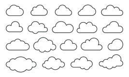 Se nubla la línea iconos del web del vector del arte stock de ilustración