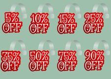 Se offrite gli sconti speciali sui vostri prodotti o servizi usano questo insieme dei wobblers rossi con differenti percentuali Fotografia Stock