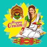 Se?ora Onam feliz la danza del kathakali enmascara el ejemplo creativo de la bandera stock de ilustración
