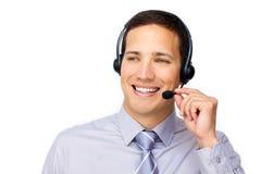Se précipitant l'agent de service à la clientèle avec l'écouteur en fonction Images stock