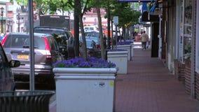 Se promener d'un pas nonchalant en bas de la rue (1 de 2) banque de vidéos