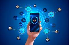 Se protege Smartphone Imágenes de archivo libres de regalías