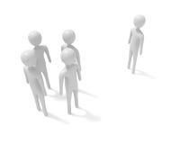 Se réunir : quatre hommes 3d blancs et un étranger, illustration 3d Image stock