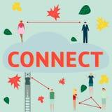 Se relier de concept Les businessmens et d'autres peuples qui discute des actualités dans les causeries et les réseaux sociaux Ve Images stock