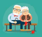Se reposer de caresse de grand-papa et de grand-maman sur le banc illustration de vecteur