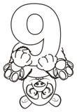 Se reposer de panda de coloration à l'envers sur le signe neuf Images libres de droits